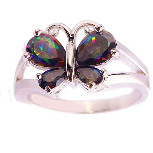 Veunora 925 Sterling Silver Created Pear Cut Rainbow Topaz Filled Gorgeous Butterfly Ring for Women - Rainbow Necklace Butterfly