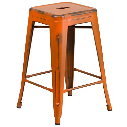 Flash Furniture 24'' High Backless Distressed Orange Metal Indoor-Outdoor Counter Height Stool by Flash Furniture