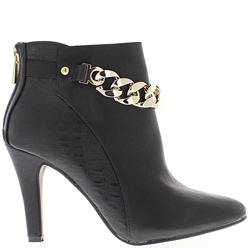 ChaussMoi Black Women Boots Heel 9cm Chain bi Material 0Zkw9Wz