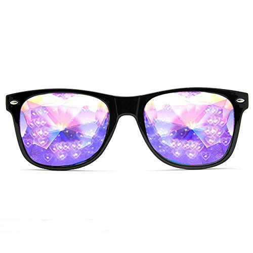 GloFX Heart Effect Ultimate Kaleidoscope Glasses - Black - Rave Rainbow EDM -