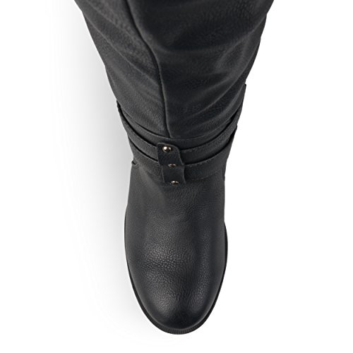Journee Collection Womens Regular Sized and Wide-Calf Knee-High Buckle Riding Boot Black i31n13drX