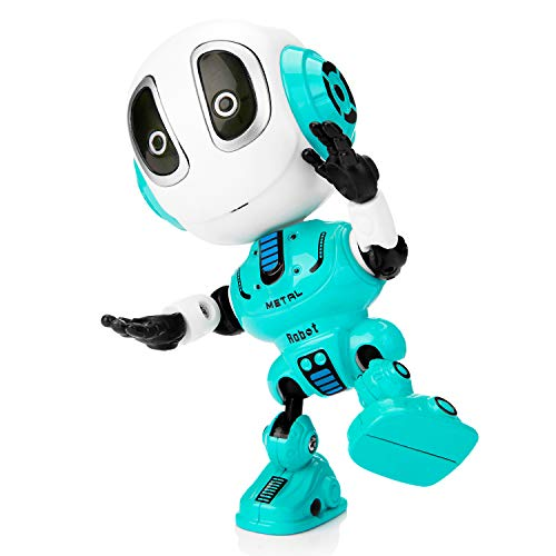 Sopu Talking Robot Toys Repeats What You Say Kids Robot Toy Metal Mini Body Robot with Repeats Your Voice, Colorful Flashing Lights and Cool Sounds Robot Interactive Toy for Boys and Girls Gift (Blue)]()