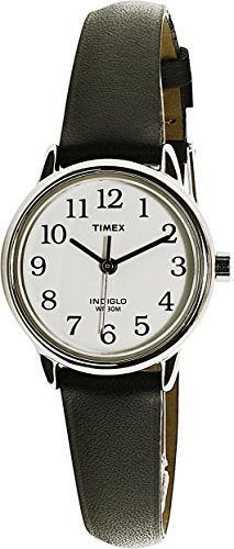 Timex Women's T20441 Easy Reader Silver-Tone Black Leather Watch
