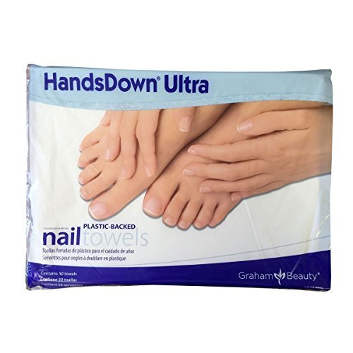 Graham Hands Down Ultra Plastic-Backed Nail Care Towels, 50 Count (Hands Down Ultra Nail)