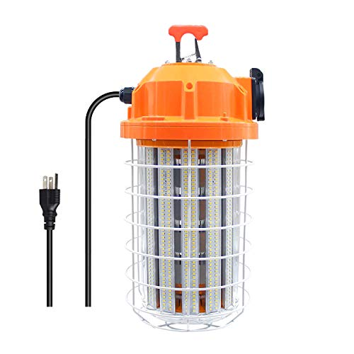 150W High Bay Temporary LED Work Light 20250Lm 5000K Daylight White with Indoor and Outdoor Hook Portable Hanging Lighting for Construction Job Site¡­