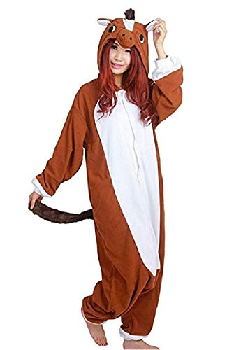 Decahome Unisex Adult Brown Horse Pyjamas Halloween Costume One Piece Animal Cosplay Onesie Medium Height from 160CM-168CM (63