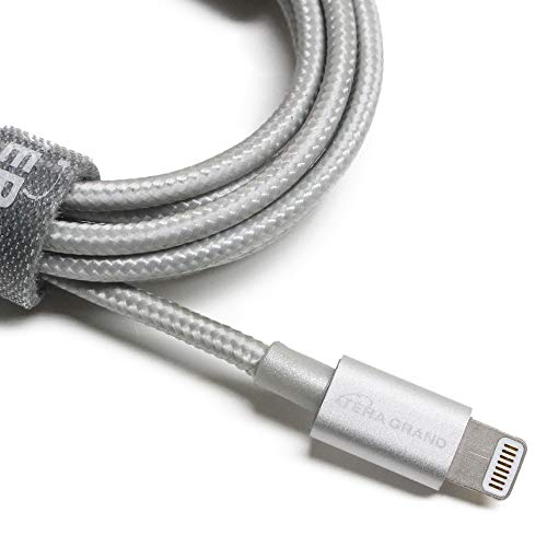 [Apple MFi Certified] Tera Grand Lightning to USB Braided Cable with Aluminum Housing, 4 Feet for iPhone Xs XS Max XR X 8 8 Plus 7 7 Plus iPad Pro Air Mini iPod (Silver)