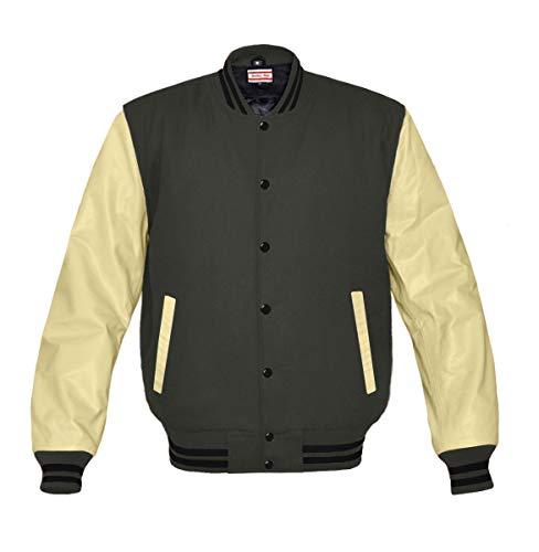 Original American Varsity Cream Leather Sleeve Letterman College Baseball Men Wool Jackets (Crsls)
