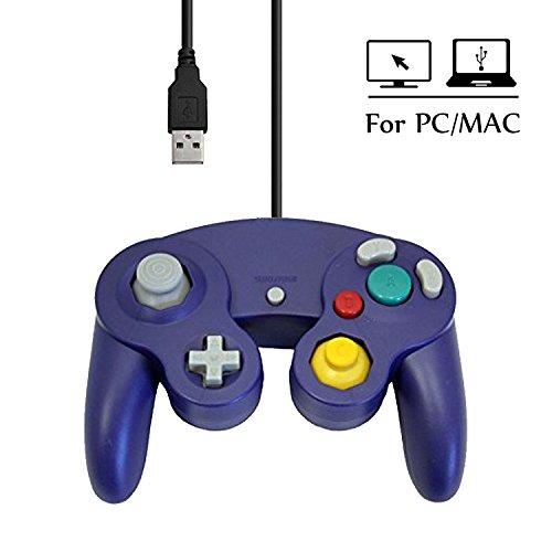 Mekela 5.8 feet Classic USB wired NGC Controller Gamepad resembles gamecube for Windows PC MAC (USB Pruple)