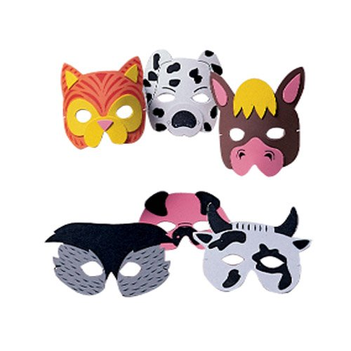 Farm Animal Face Masks - 12 pc