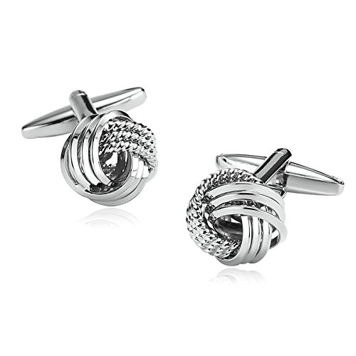 Trim Celtic Knot (Aooaz Stainless Steel Cufflinks For Men Rope Trim Love Knot Silver Wedding Cufflinks With Gift Box)