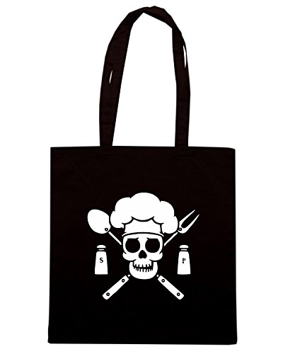 Borsa Shopping Shirtshock chef pirate T tshirt FUN0988 Nero dark FpH5wq