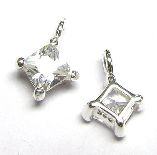 2 pcs .925 Sterling Silver Square Clear Cz Dangle Charm Pendant 9.5mm Birthstone ()