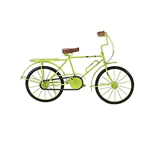 "Deco 79 27353 Metal and Wood Bicycle Decorative Sculpture 12"" x 19"" Green/Black/Brown"