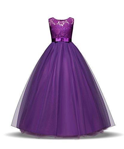 ZerYoYus Little Girls Lace Princess Dress Evening Floor Tulle Wedding Party Gowns Girls Sleeveless Dress for 4-14 Years