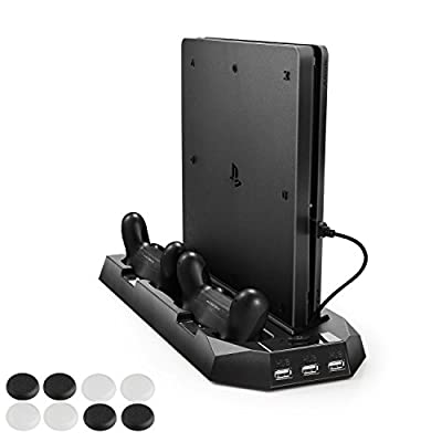 PECHAM Vertical Stand Dual Micro USB Charging Station with Cooling Fans for Playstation 4 from PECHAM