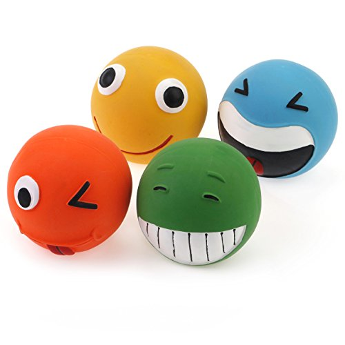 Chiwava 4PCS Squeak Latex Dog Toy 2.8'' Lovely Facial Expressions Ball Puppy Fetch Play Assorted Color (Latex Zanies)