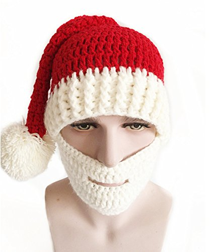 Beanie Gift - CestMall Unisex Handmade Knitting Winter Adults Santa Claus Knit Hat Beanies Cap with Mask for Christmas Party Gifts (Red+White)