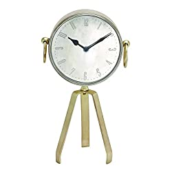 Benzara Showpiece Metal Table Clock with Tripod Stand