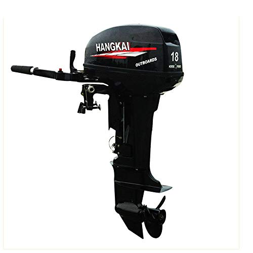 HANGKAI Outboard Motor,2 Stroke 18HP 4.4KW Outboard Motor Fishing Inflatable Boat Engine Water Cooling CDI System Durable Cast Aluminum Construction for Superior Corrosion Protection (20 Hp Motor)