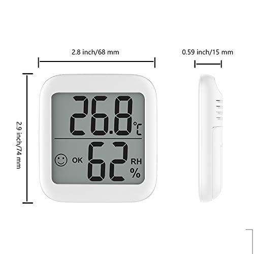 BeGrit Innen Hygrometer Thermometer für Baby-Raum-Temperatur Feuchtigkeit Feuchte Überwachung, digital einfach Sofort mit Lächeln/Unhappy Emotion Icon lesen (Weiß)
