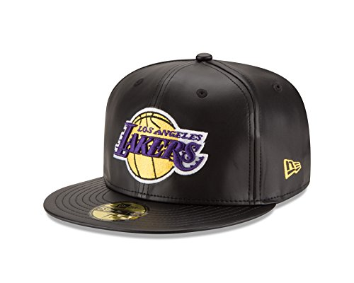 Leather Cap Era New (NBA Los Angeles Lakers Men's Faux Leather 59FIFTY Fitted Cap, 7.25, Black)