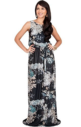 KOH KOH Womens Long Sleeveless Summer Floral Print Casual Sundress Maxi Dress