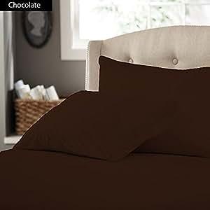 SACRO 100% algodón egipcio 600 TC 40,64 cm bolsillo profundo 3 piezas Juego de sábanas eggelston solo tamaño marrón Chocolate sólido cadorabo