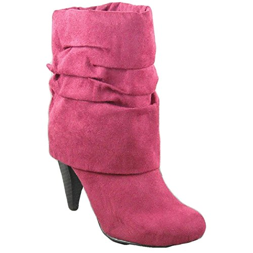 Plaza 07 by Qupid New Raspberry Pink Fold Down High Heel Scrunch Boots Size 6