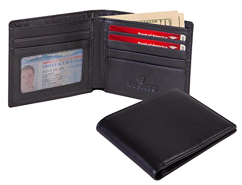 Lositto RFID Blocking Genuine Leather Wallet for Men-Excellent as Travel Bifold (Smooth black-Nappa top grain leather)
