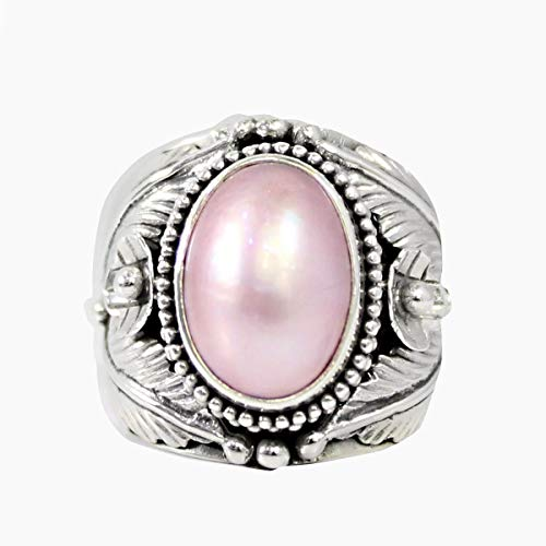 (Bali Handmade 925 sterling silver with gorgeous and natural 10 * 13 mm pink mabe pearl, beautiful bali design in oval-shaped with pink mabe pearl ring, size 6)