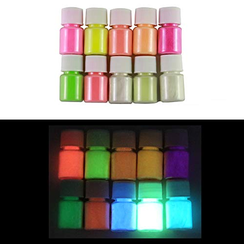 Glow in The Dark Pigment Powder 10 Colors Luminous Powder for Slime Making Epoxy Resin Colorants Skin Safe Self Glowing Dye for Nails Art Acrylic Paint Light Run Fluorescent -