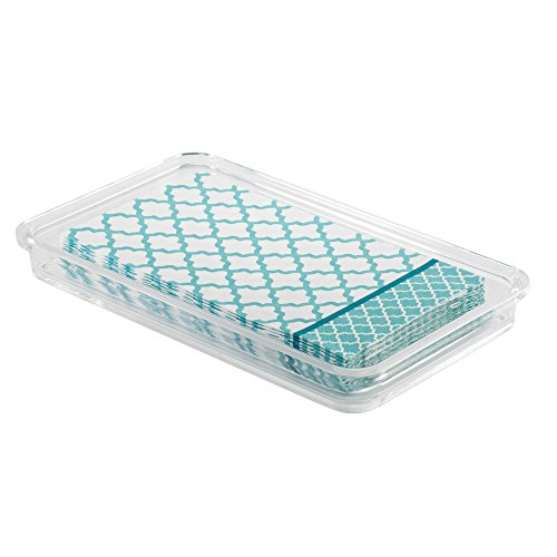 "InterDesign Clarity Plastic Guest Towel Tray, Non-Slip Vanity Board for Bathroom, Kitchen, Office, Craft Room, Countertops, 9.7"" x 5.7"" x 1"", Clear"