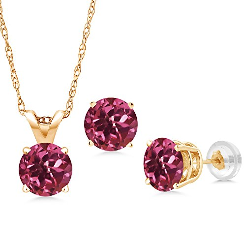 Yellow Gold Pink Tourmaline Pendant - 1.50 Ct Round Pink Tourmaline 14K Yellow Gold Pendant Earrings Set With Chain