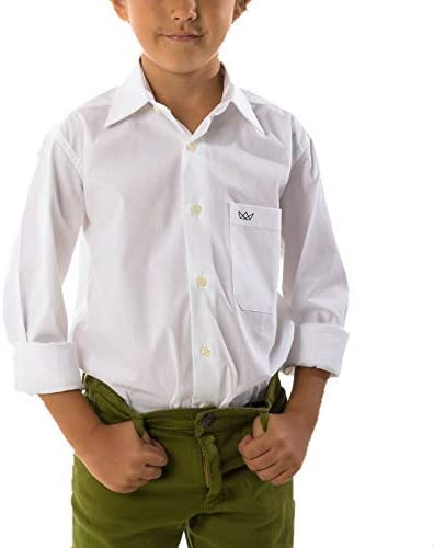 Camisa Lisa Niño Blanca de Tejido Popelina con Licra, Camisa Vestir Niño Manga Larga con Bolsillo Delatero. 100% Algodón Ocasiónes Formales e ...