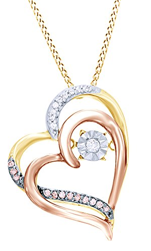 Pink Champagne Diamonds (Round Cut Pink & White Dancing Diamond Two-Tone Tilted Heart Pendant 10K Yellow Gold (0.01 Cttw))