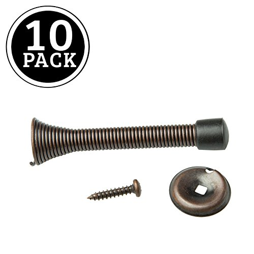 Oil Rubbed Bronze Door Stops (10 Pack of Oil Rubbed Bronze Spring Door Stops - 3 ¼ Inch Heavy Duty Door Stop - Traditional Spring Door Stop Bronze w/Rubber Bumper)