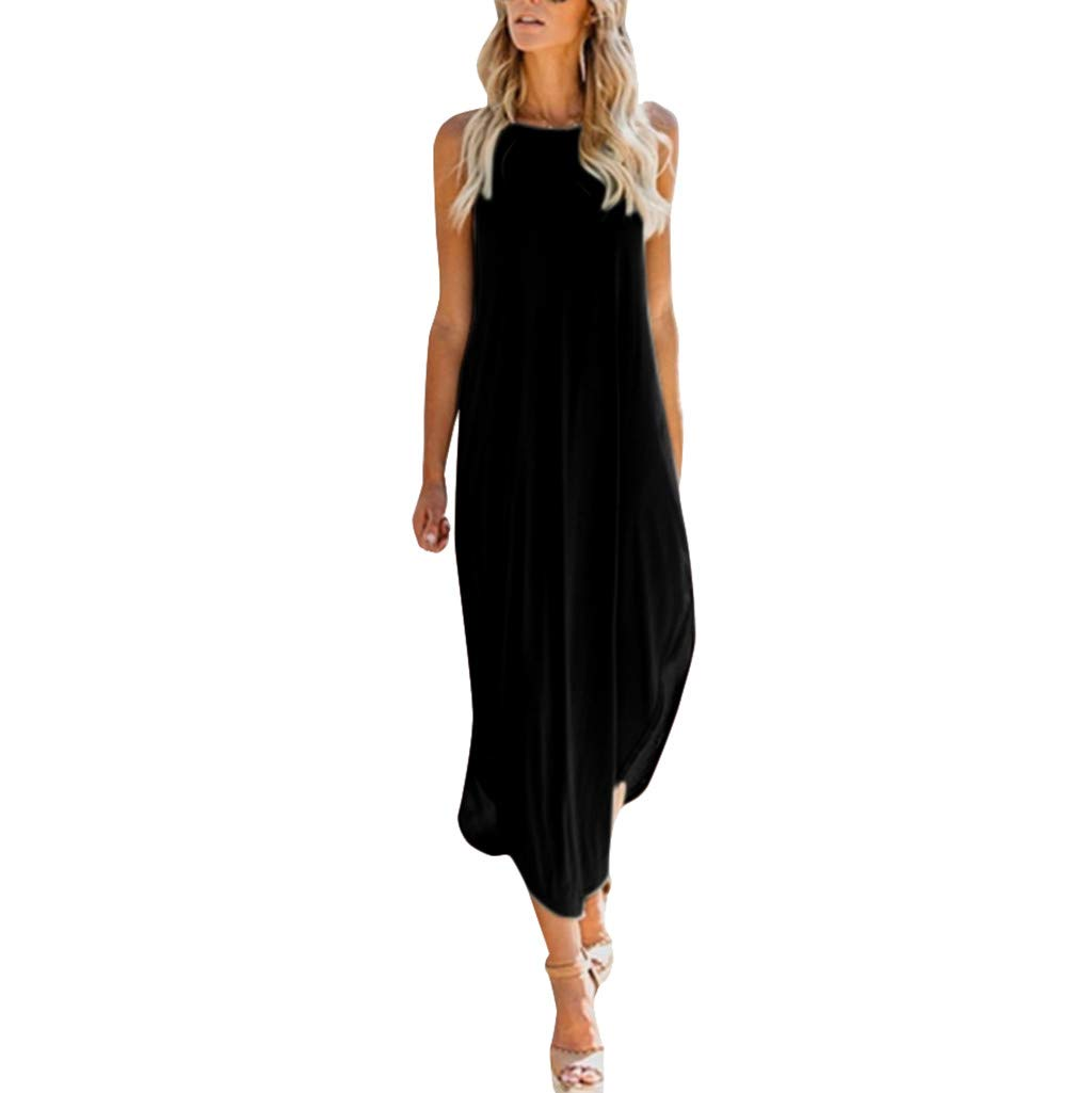 Mikey Store Women Casual Midi Plus Size Loose Solid Color Cami Sleeveless Dress Split Beach Holiday Oversized Strap Black