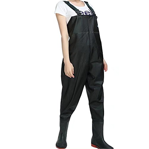 ZANSHI PVC Chest Waders For Women Bootfoot Fishing Waders With Boots With 2 Pockets Adjustable Strap Black For Sale