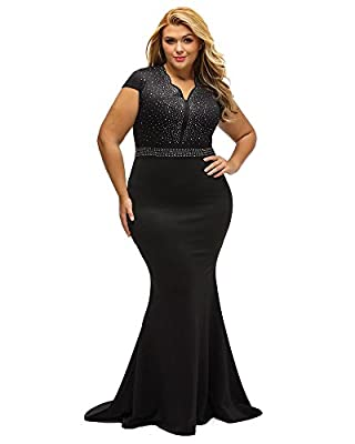 Lalagen Women's Short Sleeve Rhinestone Plus Size Long Cocktail Evening Dress