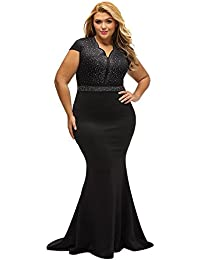 Womens Short Sleeve Rhinestone Plus Size Long Cocktail Evening Dress