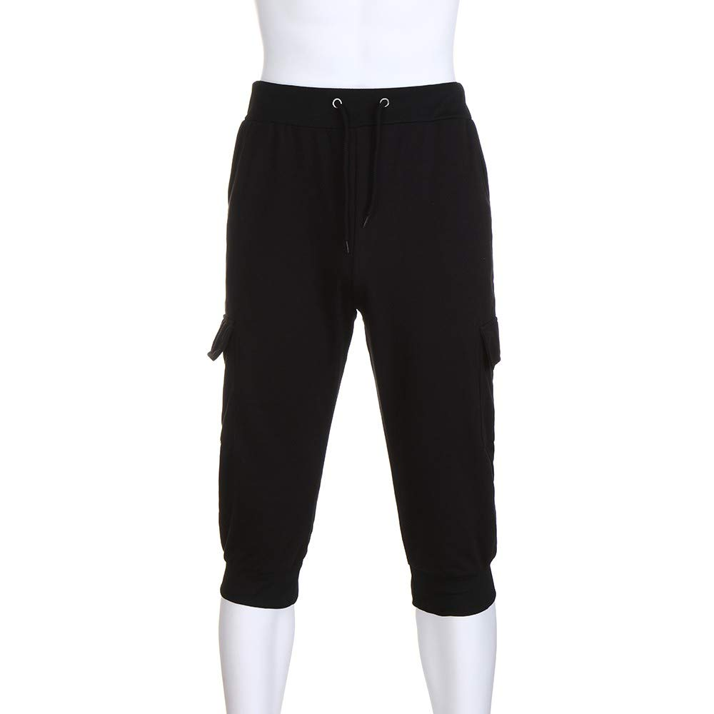 Spbamboo Mens Casual Shorts Pockets Elastic Waist Solid Slim Fit Sport Pants by Spbamboo (Image #4)