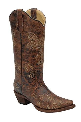 Womens Circle G Distressed Bone Dragonfly Embroidered Boots - Brown, Size 7
