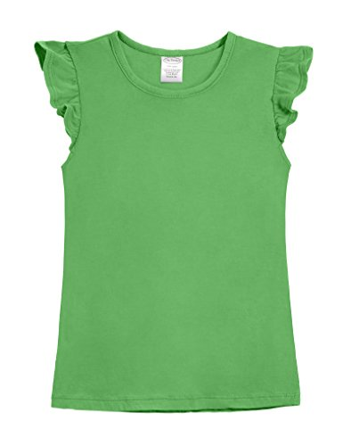 Shirt City Threads (City Threads Girls' All Cotton Short Flutter Sleeve Ruffle Top Blouse Shirt For Summer Play School Parties Stylish SPD Sensory Friendly, Elf, 7)