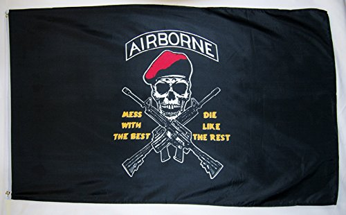 Airborne Mess With The Best Die Like The Rest Flag 3' X 5' - Airborne Flag