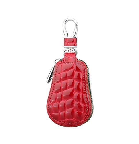 Genda 2Archer Unisex Real Leather Car Key Holder Zipper Case Wallet Keychain Bag(Red)