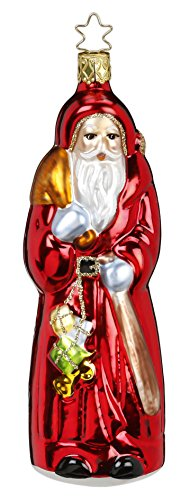 Inge Glas Santa Gift Giver 1-080-16 German Blown Glass Christmas Ornament
