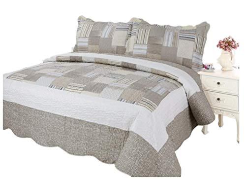 Quilts Bedding Discount (Plaid Printed Bedding 3 Piece Bedspread Quilt Set, Queen, Khakhi Beige)