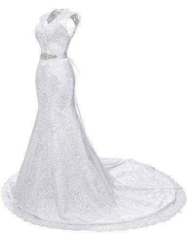 Aberturas V Cinto Encaje Boda Vestido Largo Elegante Sirena con JAEDEN de Mujer de Blanco Vestido Cuello Novia 8tqZtx4w