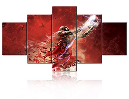 Michael Art Supply (Sports Basketball Canvas Art Painting American Basketball Legend Michael Jordan Wall Pictures NBA Poster Modern Painting Supplies Large Size 5 Pieces/set for Boys With Stretched Framed -)
